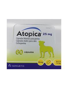 Atopica tratamiento dermatitis atópica perros 25 mg. 60 caps.